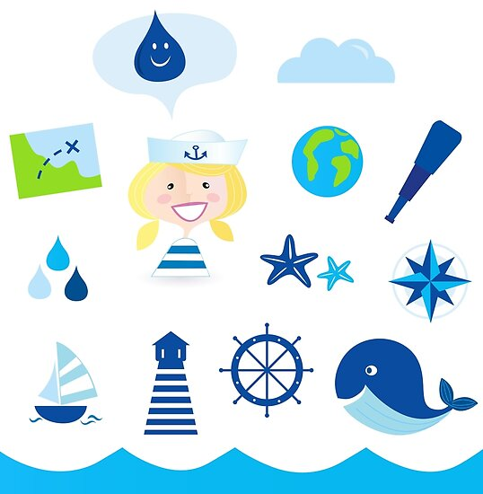 Nautic, sailor and adventure icons - blue by Bee and Glow Illustrations Shop