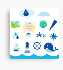 Nautic, sailor and adventure icons - blue Canvas Print