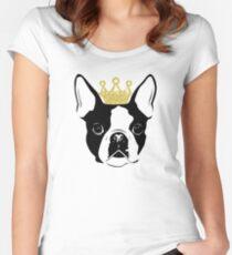 Boston Terrier mit Krone Tailliertes Rundhals-Shirt