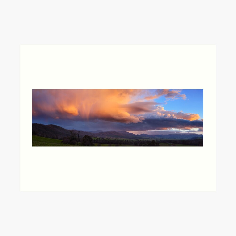 Stormy Sunset over Happy Valley, Myrtleford, Victoria, Australia Art Print