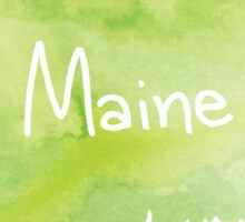 Green Watercolor Maine Sticker