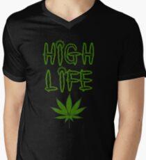 High Life Weed/Cannabis/Ganja Art Mens V-Neck T-Shirt