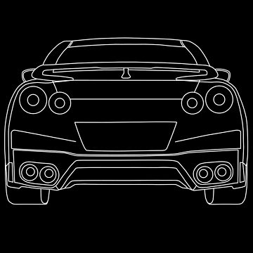 Nissan R35 GTR Rear Wireframe Design | Tee Shirt & Apparel - White by TheStickerLab