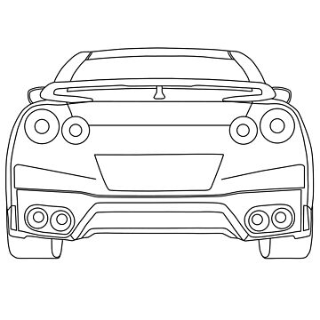Nissan R35 GTR Rear Wireframe Design | Tee Shirt & Apparel - Black by TheStickerLab