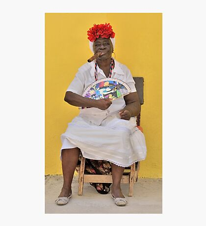 Cuban Woman with Fan  Photographic Print
