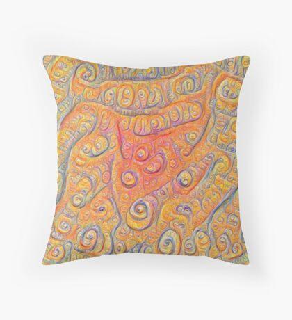 Orange #DeepDream Throw Pillow