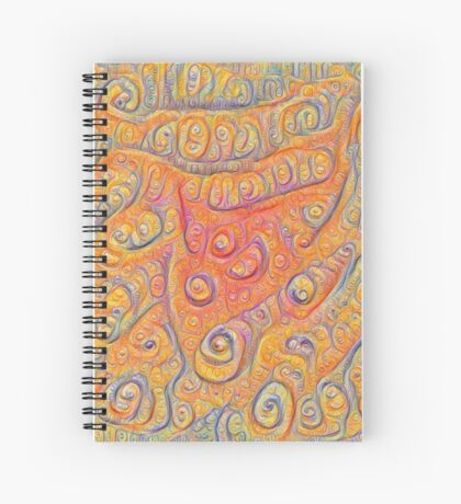 Orange #DeepDream Spiral Notebook