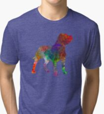 Staffordshire Bull Terrier in watercolor Tri-blend T-Shirt