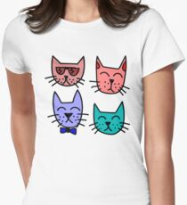 Cartoon Cat Faces Womens Fitted T-Shirt