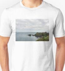 Little Red Sailboat Approaching Dunnottar Castle Scotland  Unisex T-Shirt