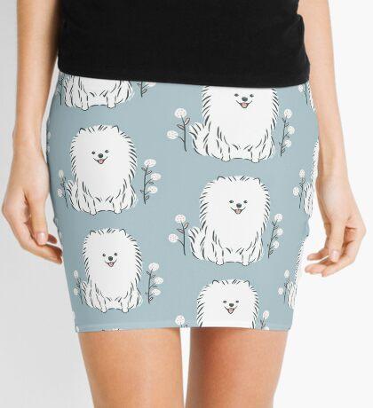 Pom Pom Puppy Dog - pomeranian white Mini Skirt