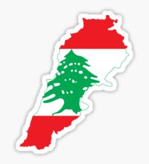 Lebanon Flag Map Sticker