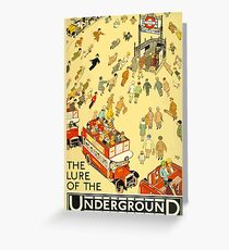 TUBE, UNDERGROUND, VINTAGE, POSTER, The Lure of the Underground. Artist: Alfred Leete. Published by: Underground Electric Railway Company Ltd. Year: 1927. Greeting Card