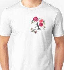 Floral Monogram Watercolor  Unisex T-Shirt