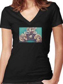Camera & Hydrangea Women's Fitted V-Neck T-Shirt