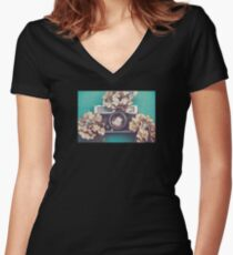 Camera & Hydrangea Women's Fitted V-Neck T-Shirt