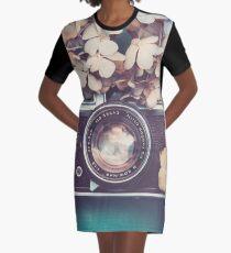Camera & Hydrangea Graphic T-Shirt Dress