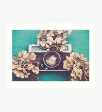 Camera & Hydrangea Art Print