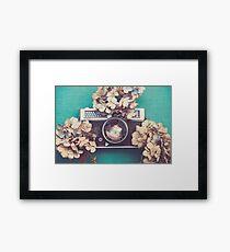 Camera & Hydrangea Framed Print