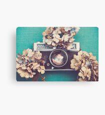 Camera & Hydrangea Canvas Print