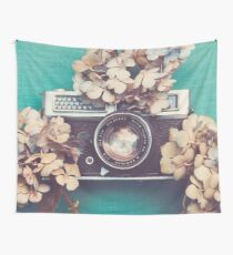 Camera & Hydrangea Wall Tapestry