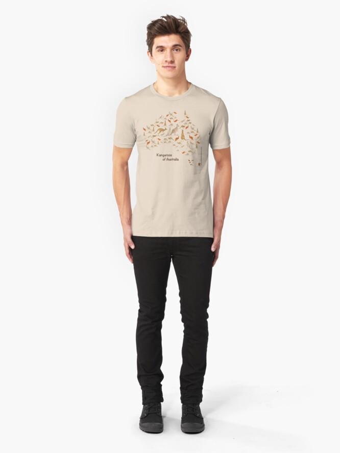 Alternate view of Kangaroo Map of Australia Slim Fit T-Shirt