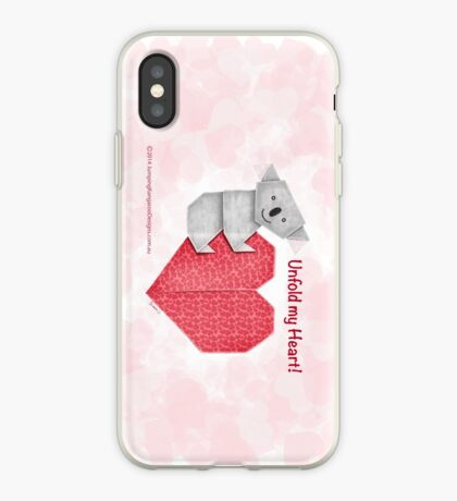 Unfold My Heart! Cuddly Koala and Heart Origami iPhone Case