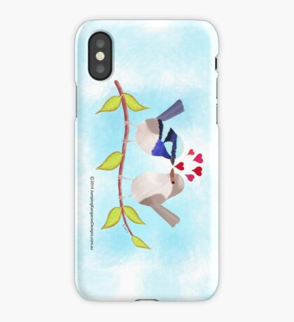 Adorable Blue Wren Birds in Love iPhone Case