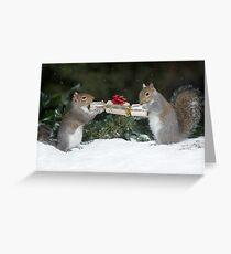 Christmas Cracker Squirrel fun! Greeting Card