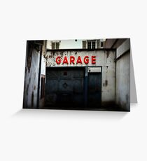 Old abandoned garage with red sign in historical center of Strasbourg Greeting Card