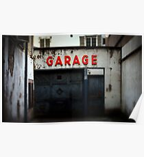 Old abandoned garage with red sign in historical center of Strasbourg Poster