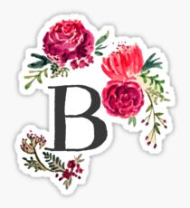 Floral Monogram Watercolor B Sticker