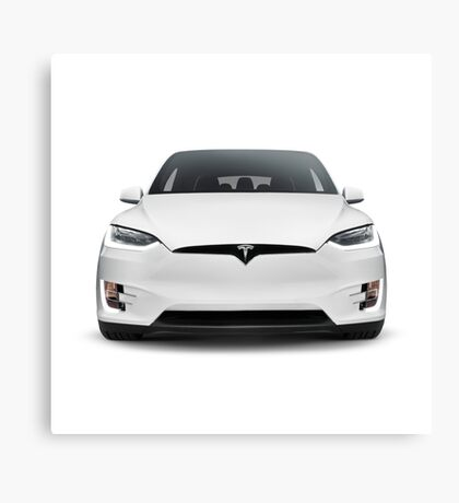 White 2017 Tesla Model X luxury SUV electric car front isolated art photo print Canvas Print