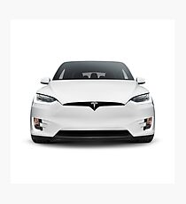 White 2017 Tesla Model X luxury SUV electric car front isolated art photo print Photographic Print