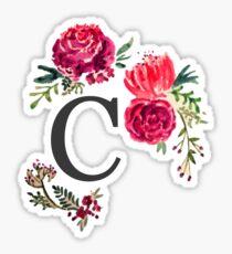 Floral Monogram Watercolor C Sticker