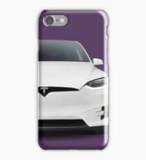 White 2017 Tesla Model X luxury SUV electric car front art photo print iPhone Case/Skin