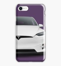 White 2017 Tesla Model X luxury SUV electric car front art photo print iPhone Case/Skin