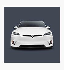 White 2017 Tesla Model X luxury SUV electric car front art photo print Photographic Print