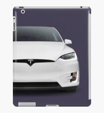 White 2017 Tesla Model X luxury SUV electric car front art photo print iPad Case/Skin