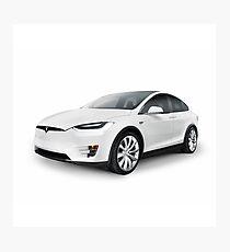 White 2017 Tesla Model X luxury SUV electric car isolated art photo print Photographic Print