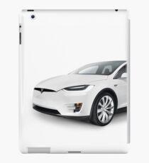 White 2017 Tesla Model X luxury SUV electric car isolated art photo print iPad Case/Skin