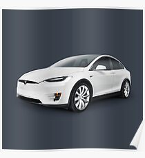 Tesla Model X luxury SUV electric car art photo print Poster