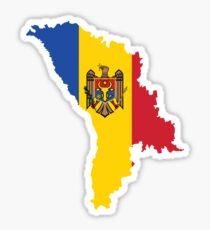 Moldova Flag Map Sticker