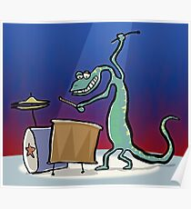 drum playing lizard Poster