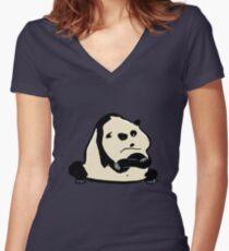panda bear Women's Fitted V-Neck T-Shirt