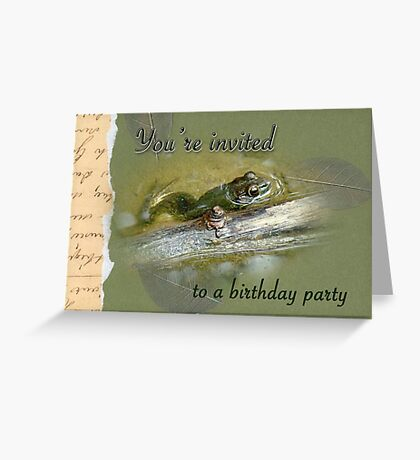 Birthday Party Invitation - Bullfrog Greeting Card