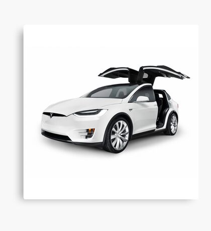 White 2017 Tesla Model X luxury SUV electric car with open falcon-wing doors art photo print Canvas Print