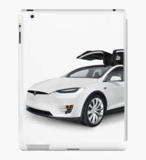 White 2017 Tesla Model X luxury SUV electric car with open falcon-wing doors art photo print iPad Case/Skin
