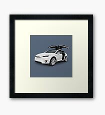 White 2017 Tesla Model X luxury SUV electric car with open falcon-wing doors art photo print Framed Print