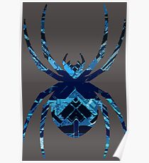 Along Came A Spider [Blue Geometric] Poster